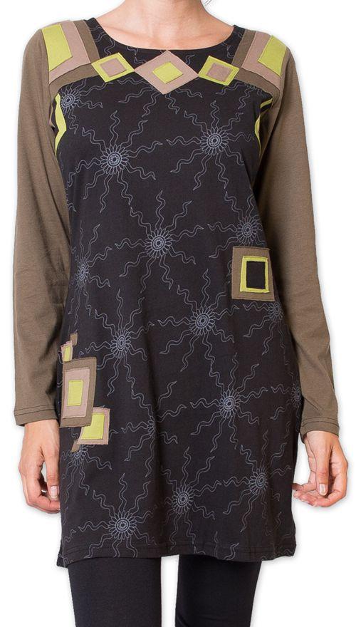 Robe courte à manches longues Originale et Colorée Riony Noire 276031