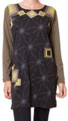 Robe courte � manches longues Originale et Color�e Riony Noire 276031
