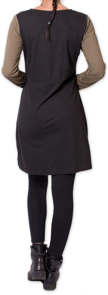 Robe courte à manches longues Originale et Colorée Riony Noire 276032