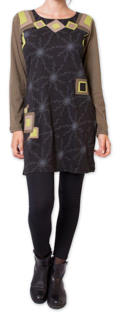 Robe courte à manches longues Originale et Colorée Riony Noire 276033
