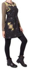 Robe courte à manches longues Originale et Colorée Riony Noire 276034