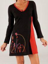 Robe courte à manches longues Originale et Colorée Sicile Noire 279693