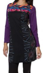 Robe courte � manches longues Originale et Color�e Wanganui Noire 276185