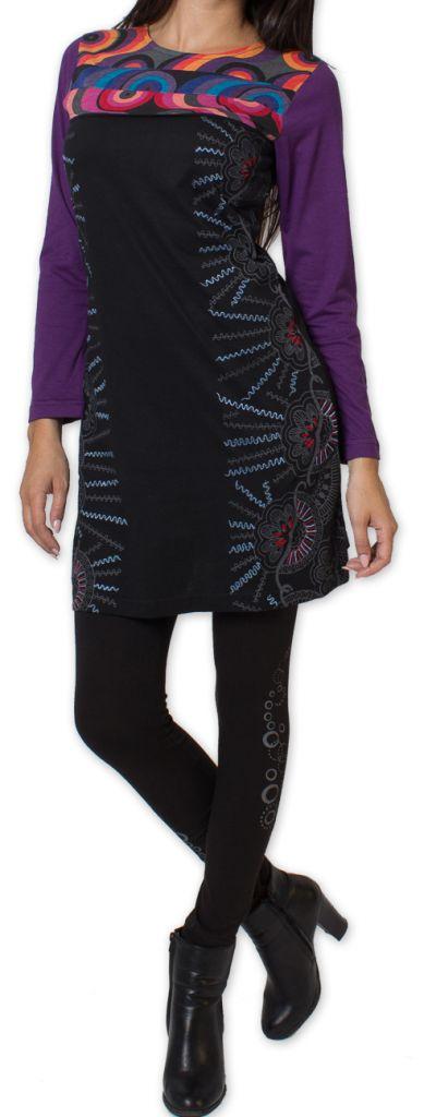 Robe courte à manches longues Originale et Colorée Wanganui Noire 276186