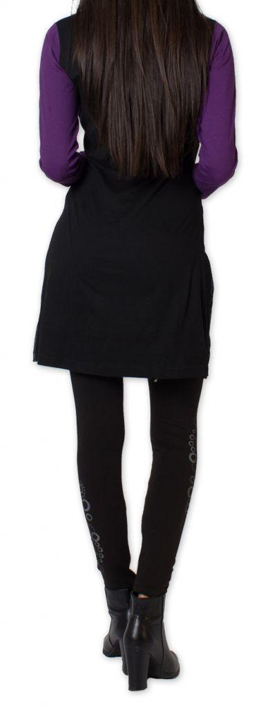 Robe courte à manches longues Originale et Colorée Wanganui Noire 276188