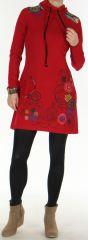 Robe courte � manches longues Originale et Ethnique Naveen Rouge 275939