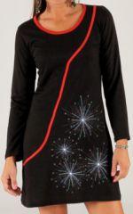 Robe courte � manches longues Originale et Festive Agla�e Noire 277889