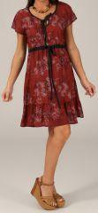 Robe courte à petites manches Originale et Légère Galice Bordeaux 280351