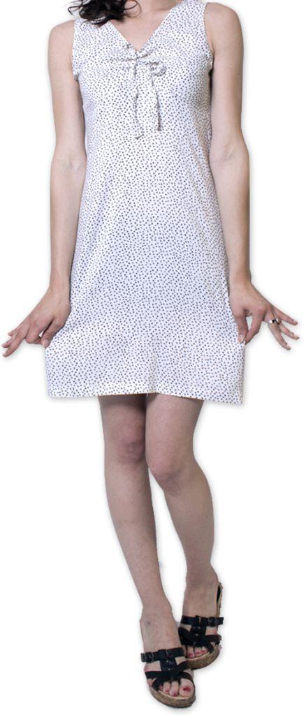 Robe courte à pois sans manches d'Eté et Originale Britannia Blanche 276834