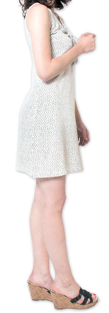 Robe courte à pois sans manches d'Eté et Originale Britannia Blanche 276835