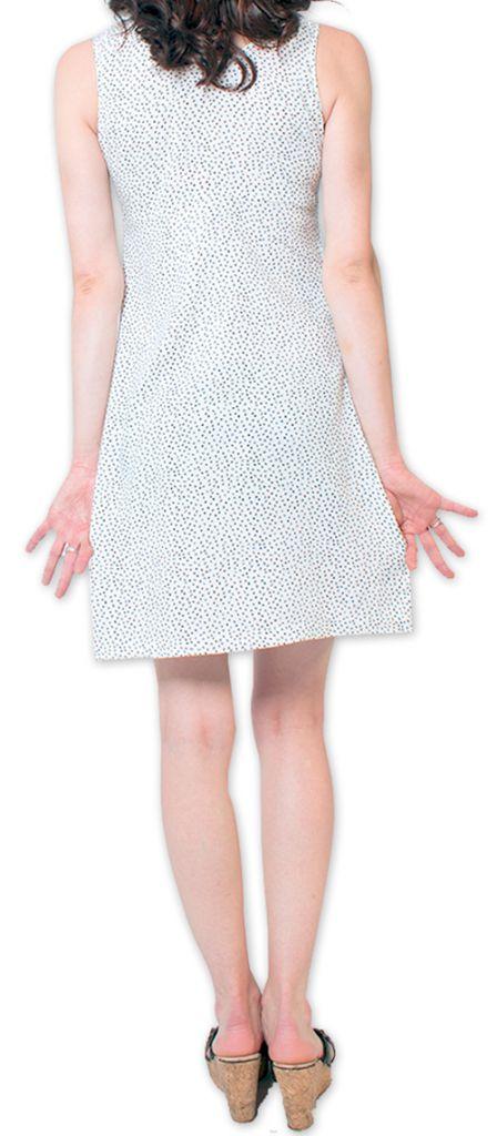 Robe courte à pois sans manches d'Eté et Originale Britannia Blanche 276836