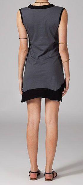 Robe courte asymétrique grise Tabara