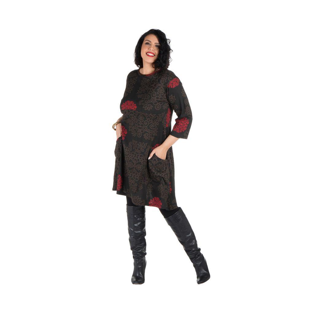 Robe courte automne marron, rouge, et noire Weii 301357
