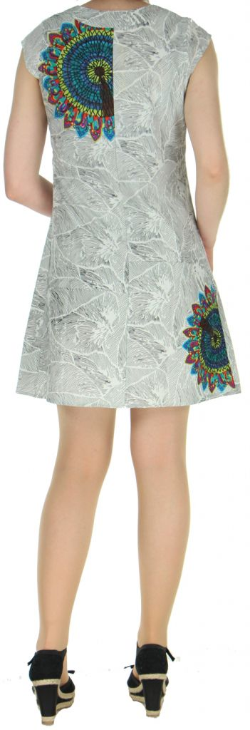 Robe courte blanche imprimée ethnique effet plissé Shyma