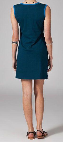 Robe courte bleue en coton Pascalina 269062