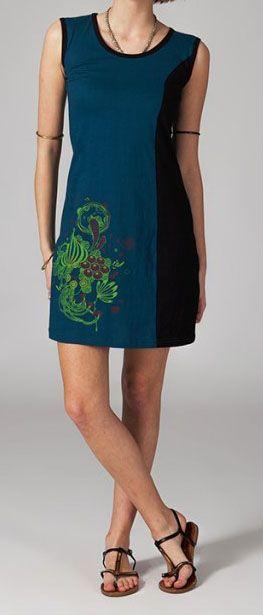 Robe courte bleue en coton Wafa 268999