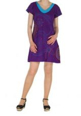 Robe courte brod�e belinda violette 262044