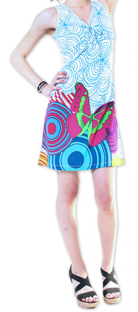 Robe courte Col en V Originale et Colorée Ana Blanche 276660