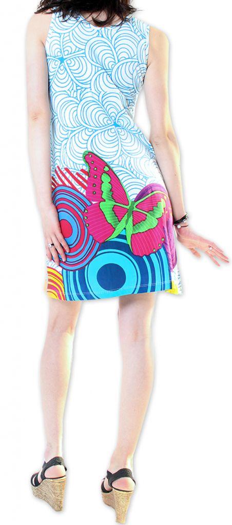 Robe courte Col en V Originale et Colorée Ana Blanche 276662