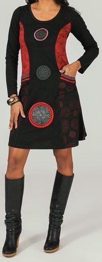 Robe courte col rond ethnique et originale Rouge Moana 273978