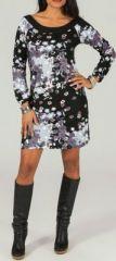 Robe courte col rond originale et imprim�e Noir/Gris L�andre 273880