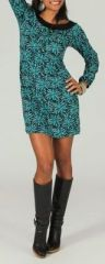 Robe courte col rond originale et imprim�e Turquoise L�andre 273879