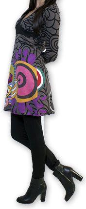 Robe courte col V Ethnique et Colorée Tamari Gris 274523