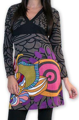 Robe courte col V Ethnique et Colorée Tamari Gris 274524