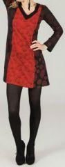 Robe courte col V ethnique et imprim�e Noire et rouge Liberty 273944