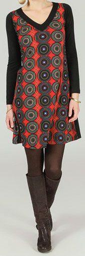 Robe courte col V ethnique et imprimée Noire et rouge Loelia 273947