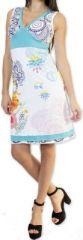 Robe courte col V ethnique et originale Blanche Serrena 273626