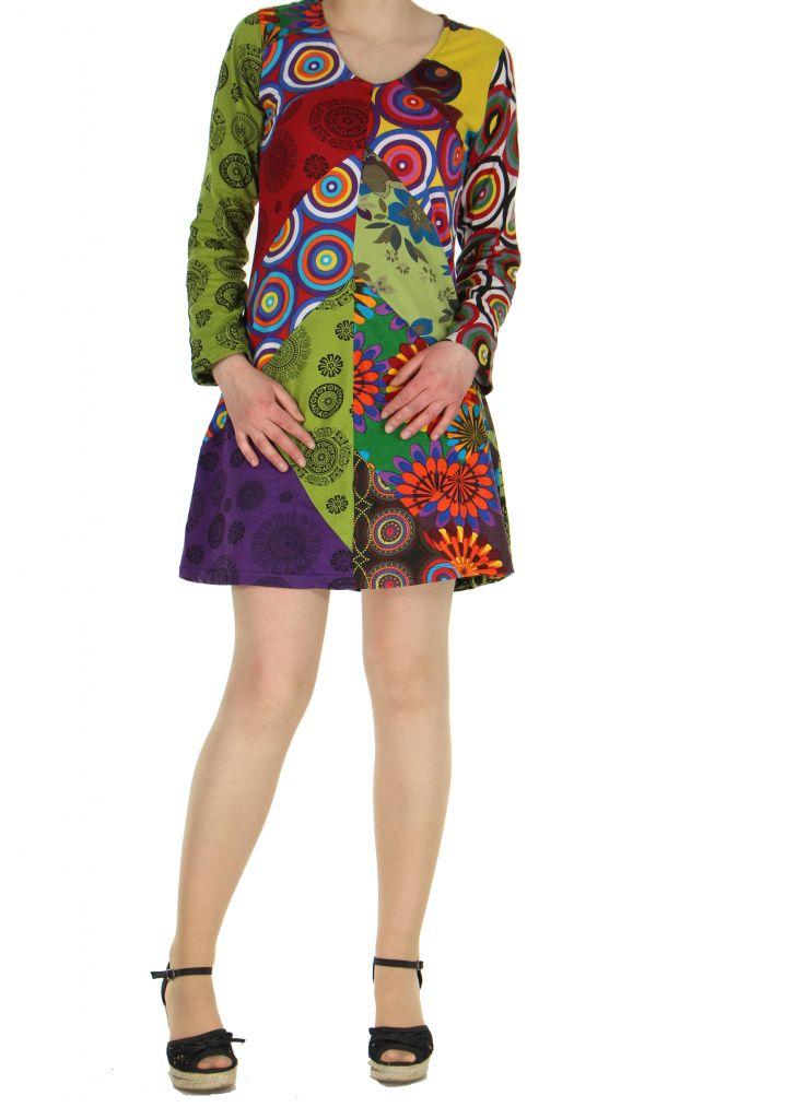Robe courte colorée à manches longues Marion 267352