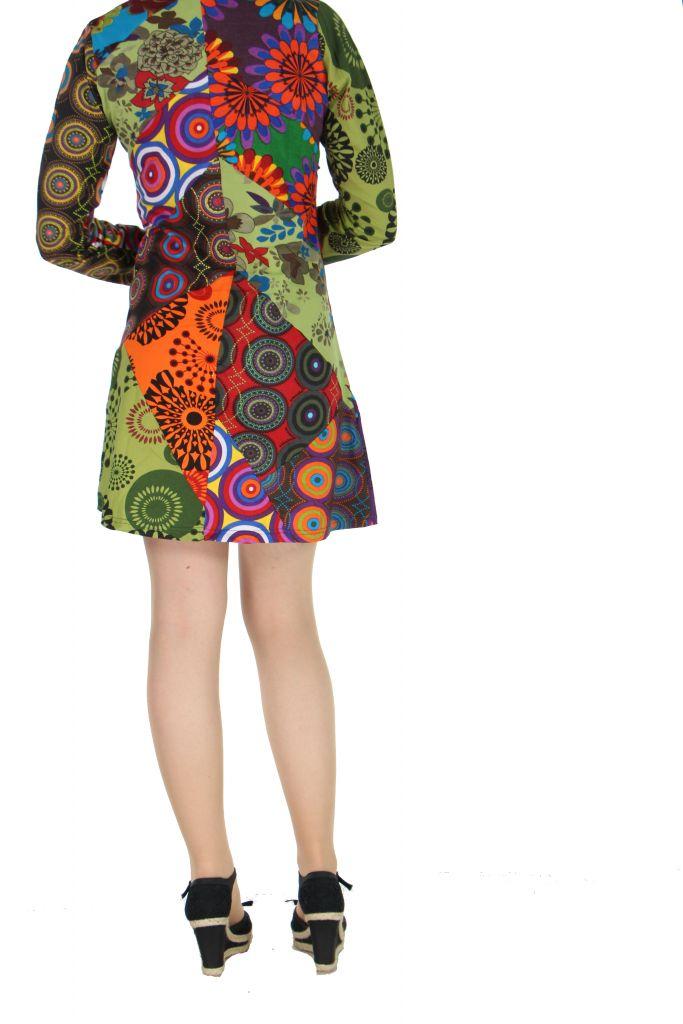 Robe courte colorée à manches longues Marion 267353
