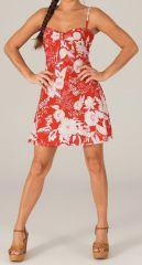 Robe courte d'été à bretelles Originale et Colorée Rouge 279620