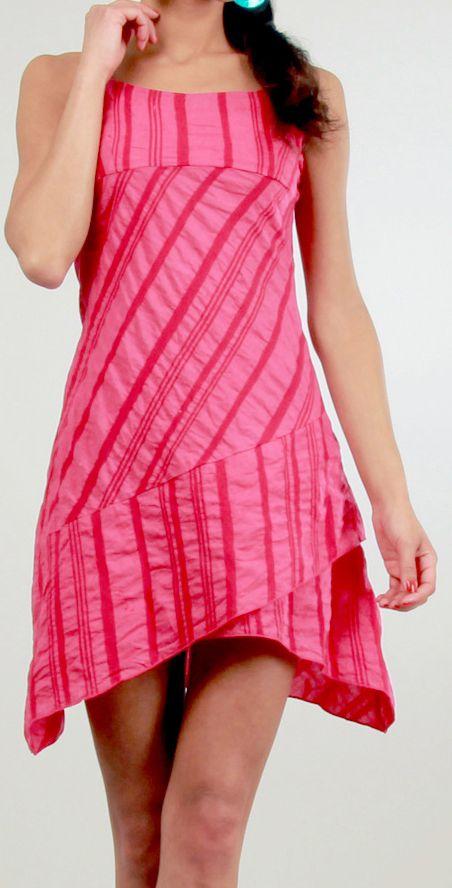 Robe courte d'été Asymétrique et Ethnique Ibizza Rose 277034