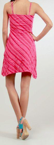 Robe courte d'été Asymétrique et Ethnique Ibizza Rose 277038