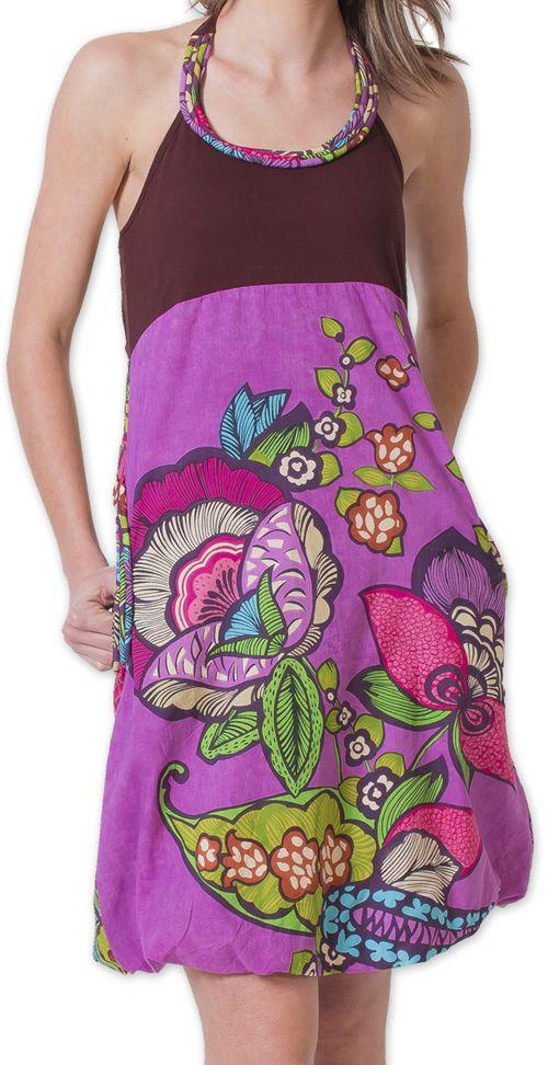 Robe courte d'été Bicolore Ethnique et Colorée Balon Marron 276821