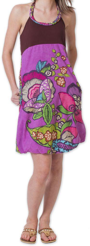 Robe courte d'été Bicolore Ethnique et Colorée Balon Marron 276822