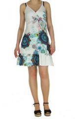 Robe courte d'été blanche col en V Laureen 267700