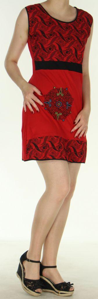 Robe courte d'été ethnique colorée rouge Chameli 272152