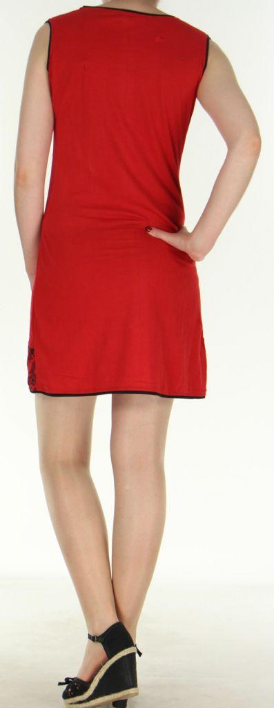 Robe courte d'été ethnique colorée rouge Chameli 272153