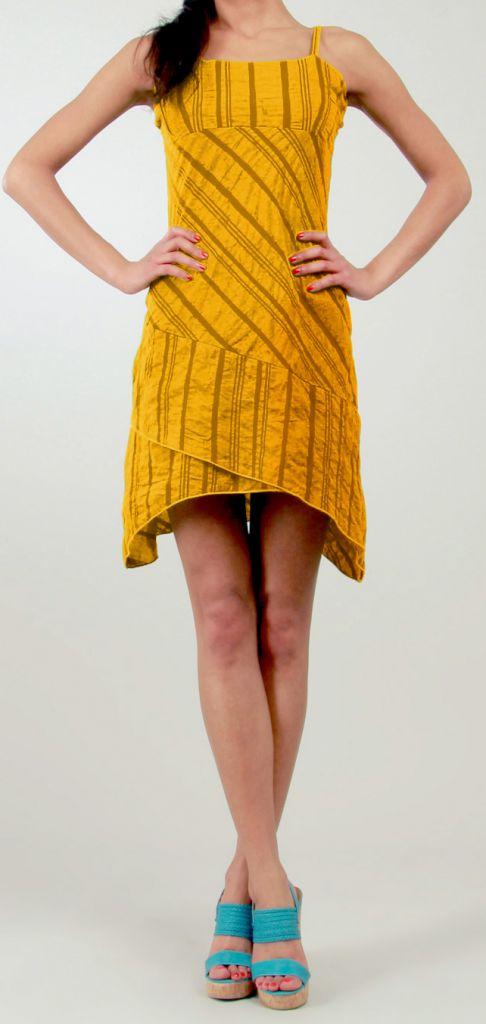 Robe courte d'été Ethnique et Asymétrique Ibizza Orange 277042