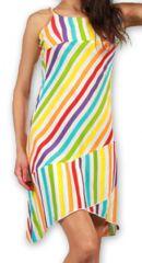 Robe courte d'été Ethnique et Asymétrique Ilonna Blanche 277070