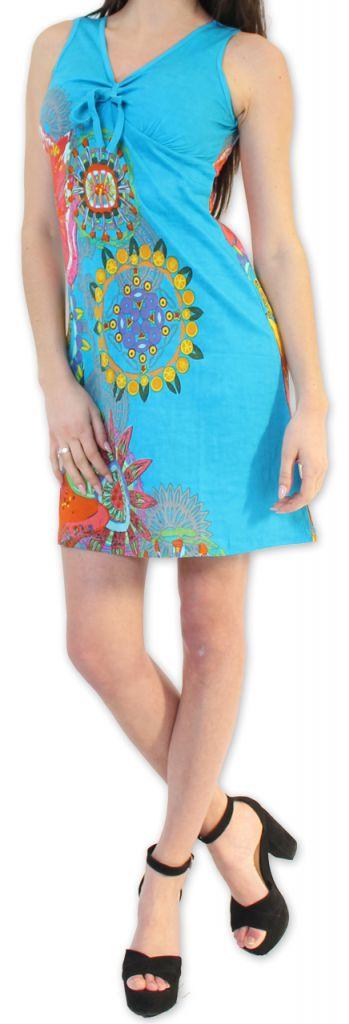 Robe courte d'été Ethnique et Colorée Alissa Bleue 276614