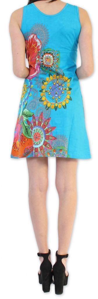 Robe courte d'été Ethnique et Colorée Alissa Bleue 276616