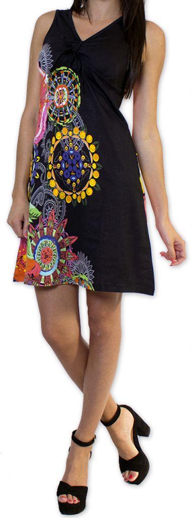 Robe courte d'été Ethnique et Colorée Noire Alissa 276610