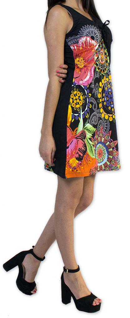 Robe courte d'été Ethnique et Colorée Noire Alissa 276611