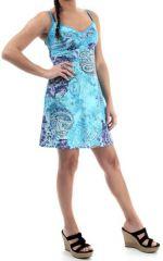 Robe courte d'été Ethnique et Originale Bleue Sintra 280336