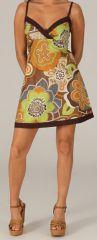Robe courte d'été Ethnique et Originale Glacia Marron 279407