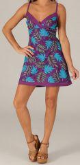 Robe courte d'été Ethnique et Originale Glacia Violette 279400